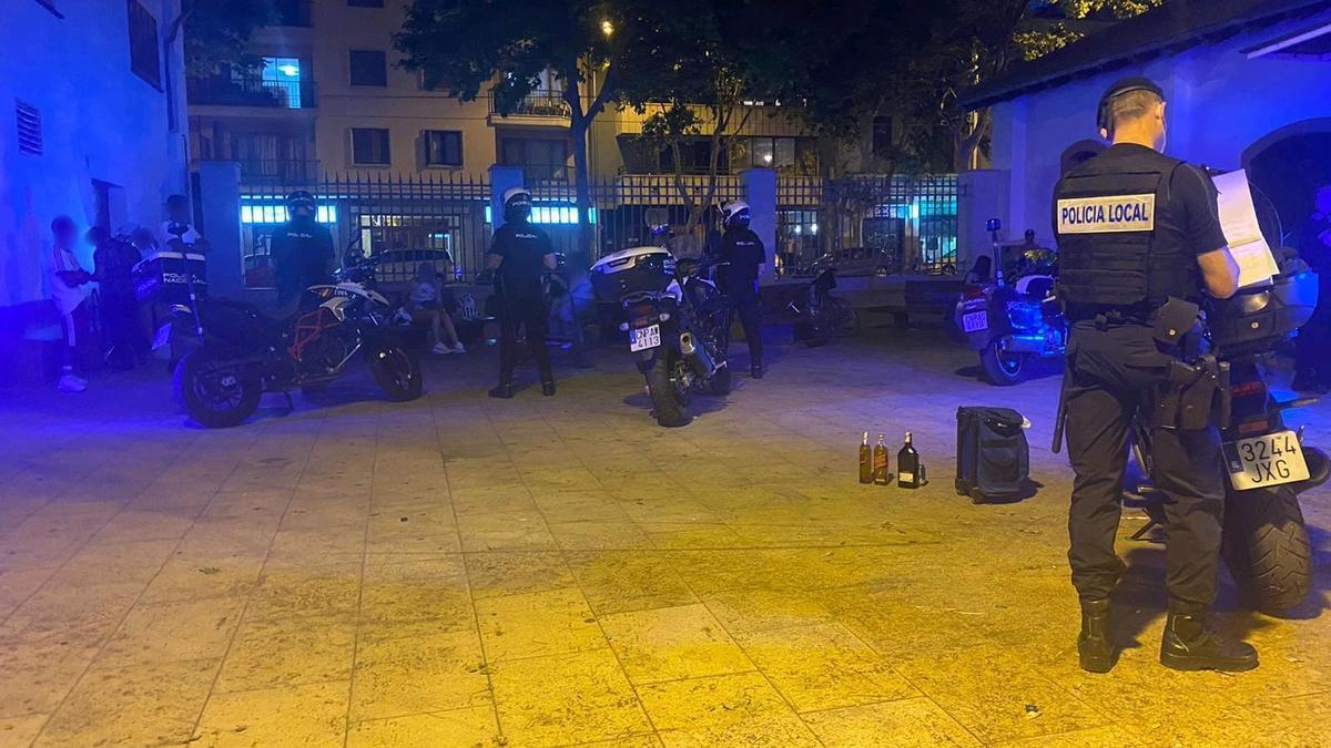 Agentes de la Policía Local, durante un control en Palma.