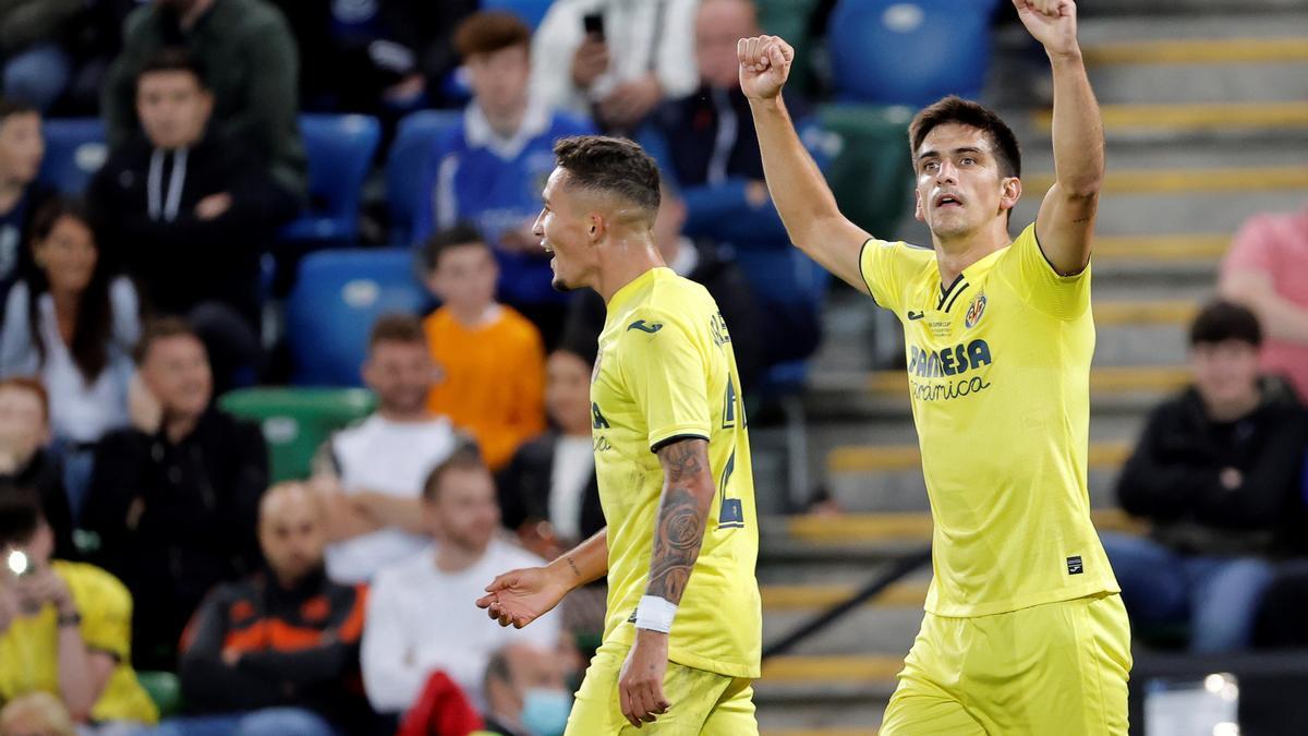 Gerard Moreno celebra el tanto anotado en la final de la Supercopa de Europa.