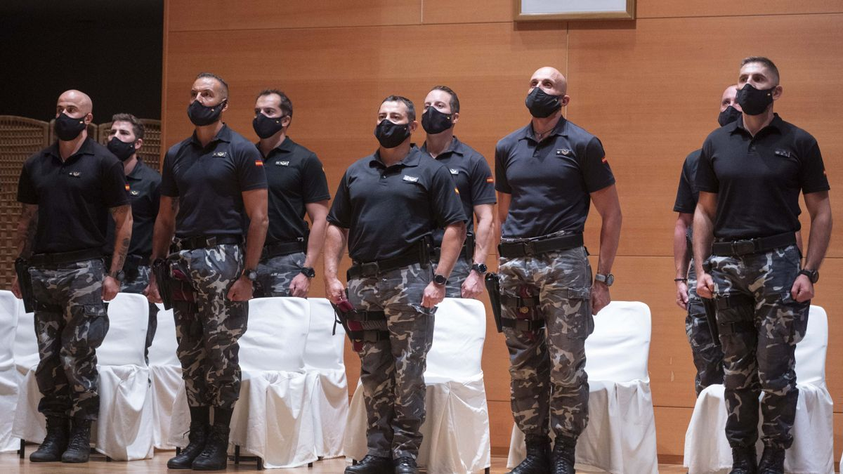Policías del Grupo Especial de Operaciones (GEO) que trabajaron en la evacuación de Afganistán.