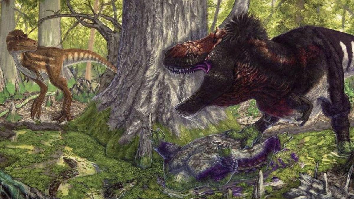 Una ilustración que representa a los tiranosaurus.