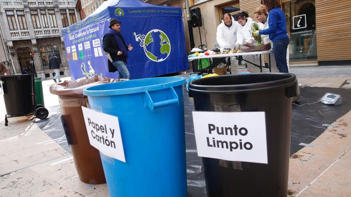Una iniciativa de reciclaje en una ciudad asturiana.