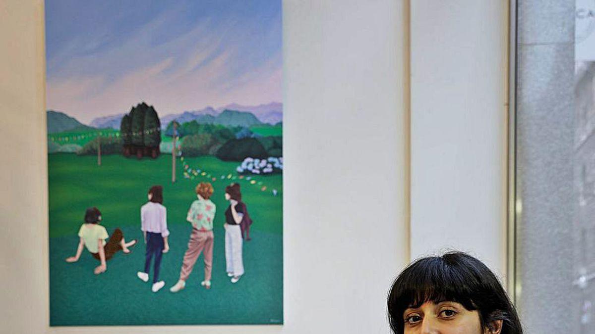 """Helena Toraño, en la inauguración de """"El soplo de los días"""", en la galería Gema Llamazares de Gijón."""