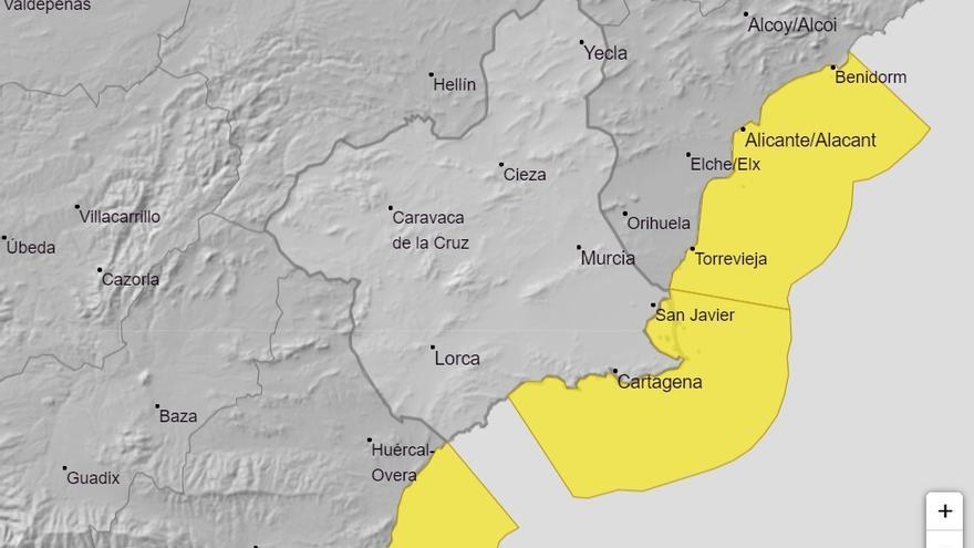 Alerta amarilla por temporal costero con fuertes vientos este jueves