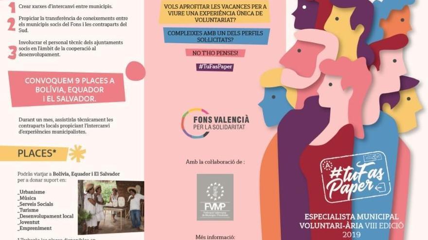 """El Fons Valencià obri la inscripció per al projecte """"Especialista Municipal Voluntari"""""""