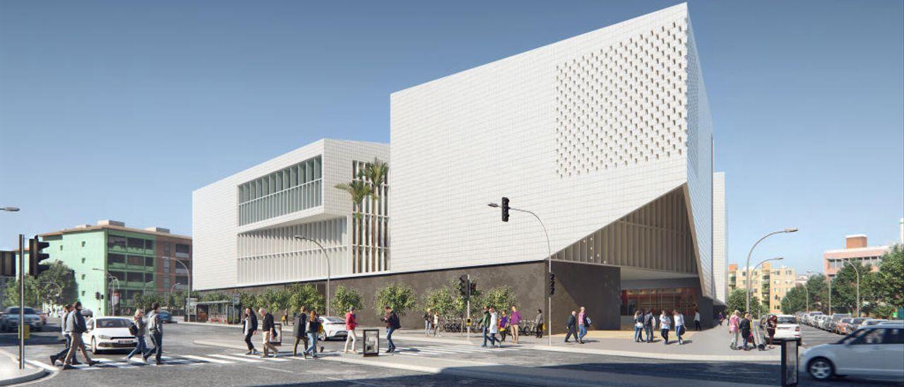 Recreación virtual del futuro edificio de la Ciudad de la Justicia de Alicante.
