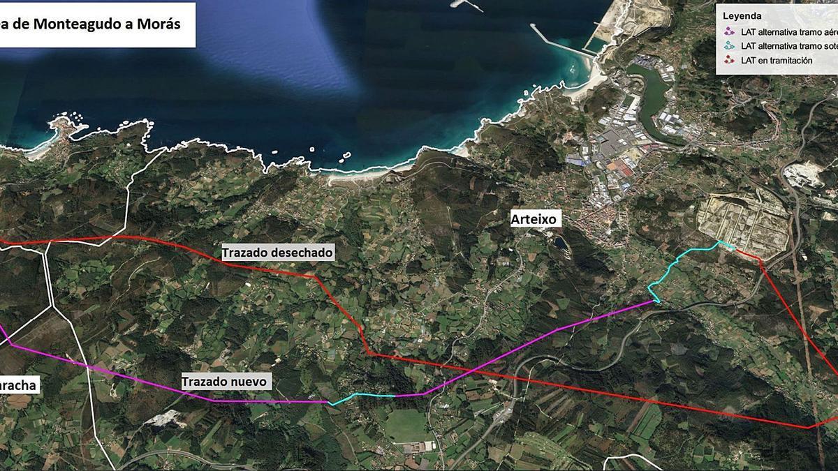 Nuevo trazado propuesto por Acciona (en morado y azul claro) y recorrido anterior (en rojo). |   // LA OPINIÓN