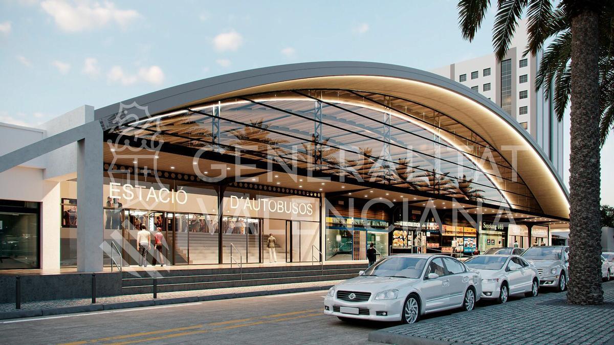 Figuración de cómo quedará la Estación de Autobuses de València tras su remodelación