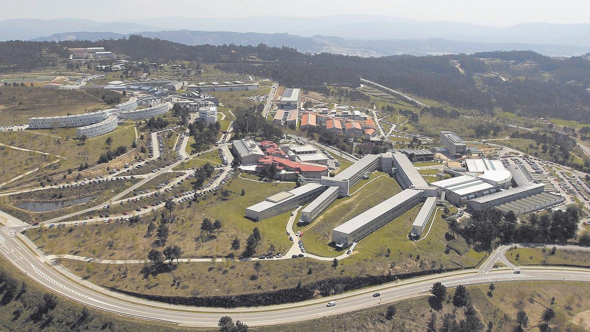 Vista aérea del campus de Vigo.