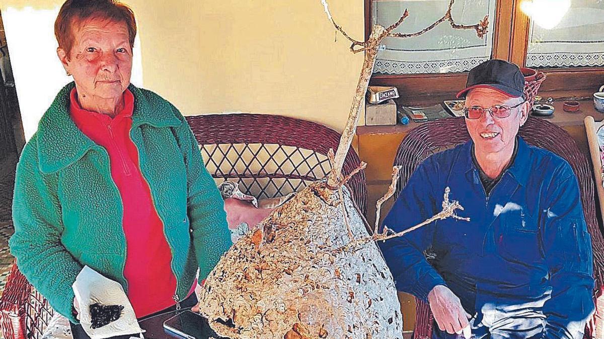 Los hermanos María Cristina y José Luis Cortina, con uno de los nidos retirados.
