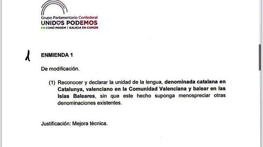 Podemos llama «balear» al catalán de las islas en el Congreso