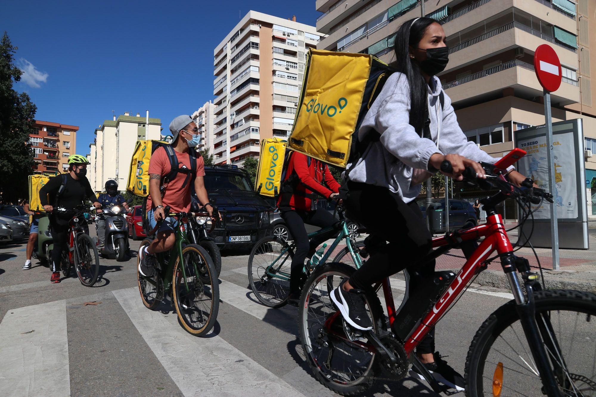 Las imágenes de la protesta contra la nueva Ley Rider en Málaga