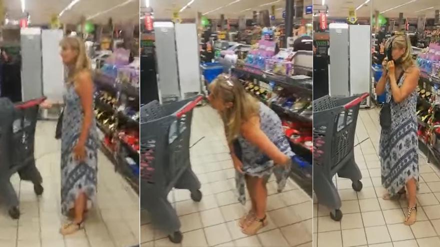 Una mujer se vuelve viral tras utilizar un tanga como mascarilla en un supermercado