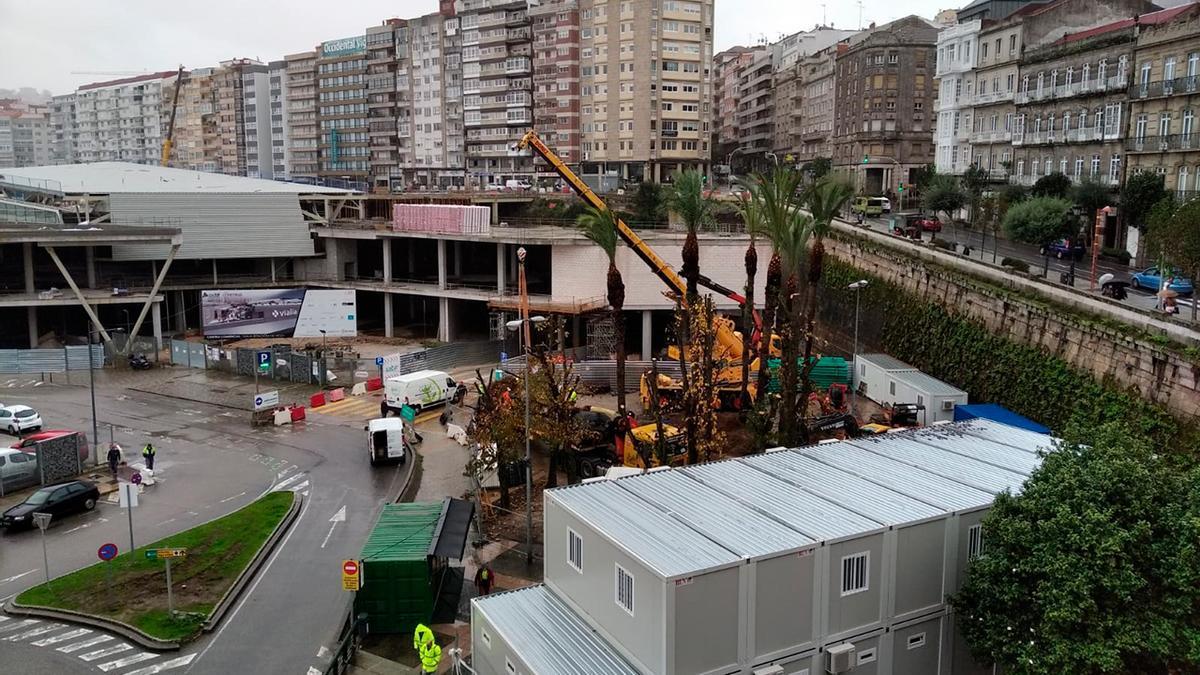 Operarios trabajan en la retirada de los árboles y las palmeras delante del futuro centro comercial