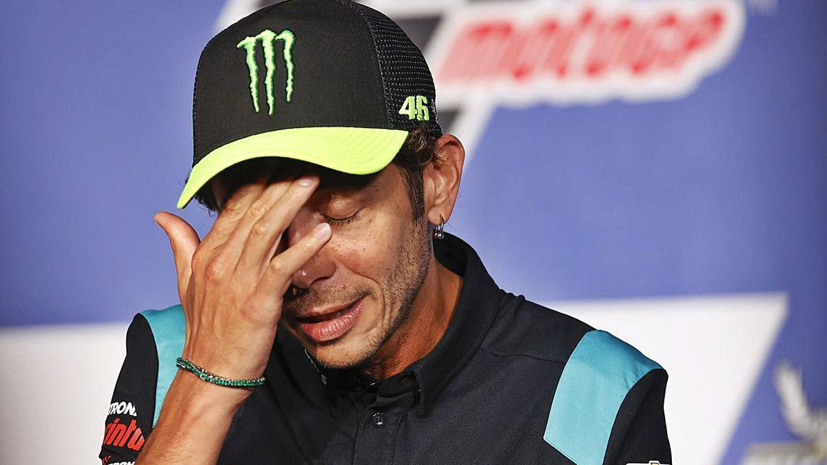 Valentino Rossi, en una rueda de prensa esta temporada, la última de la leyenda italiana. | EP
