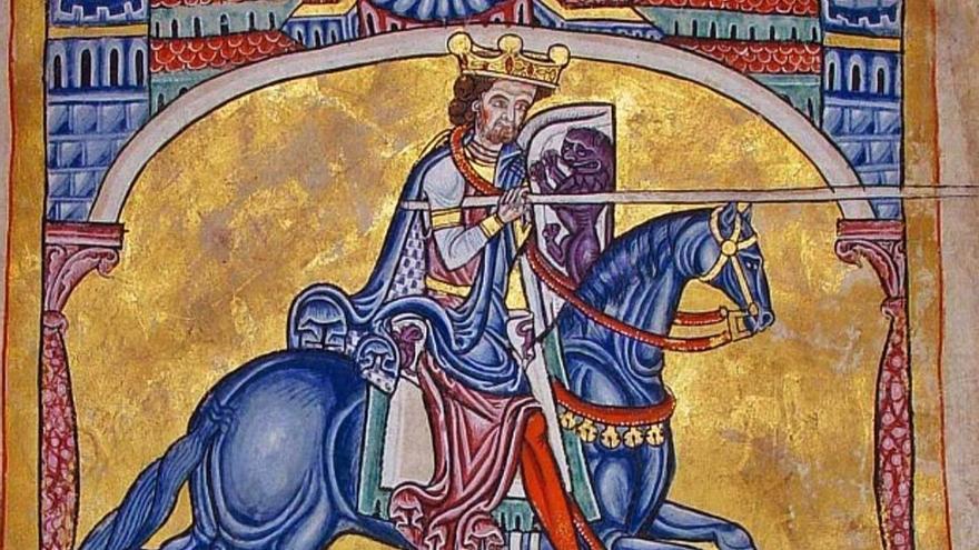 Ilustración del rey Alfonso IX que aparece en el libro Tumbo A, de la Catedral de Santiago de Compostela.   F. I.