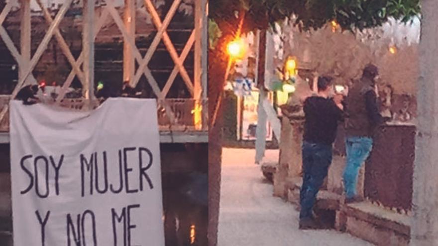 """Tres hombres cuelgan un cartel anti 8M en Murcia en el que dicen """"soy mujer y no me representan"""""""