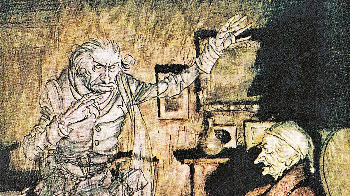 Una de las ilustraciones a color del ejemplar de Alba Editorial dedicado a los cuentos navideños.