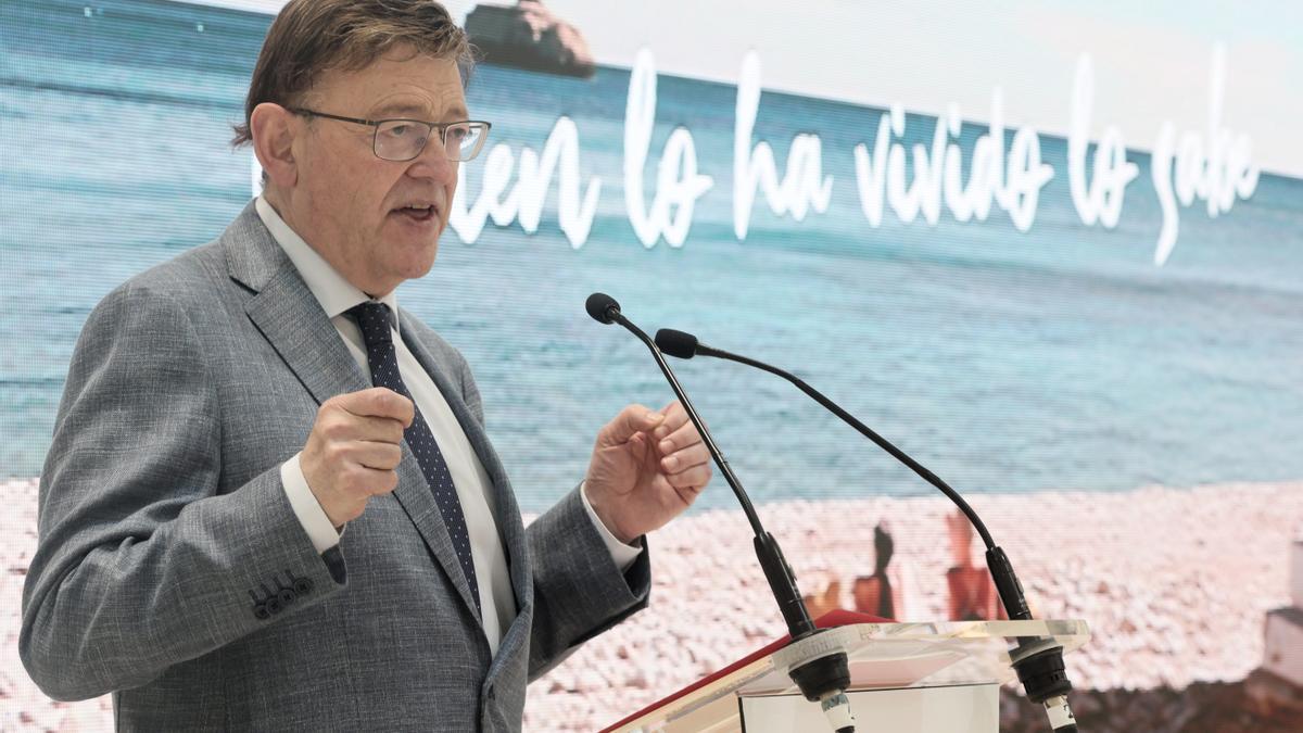 El president de la Generalitat, Ximo Puig, en su intervención en Fitur