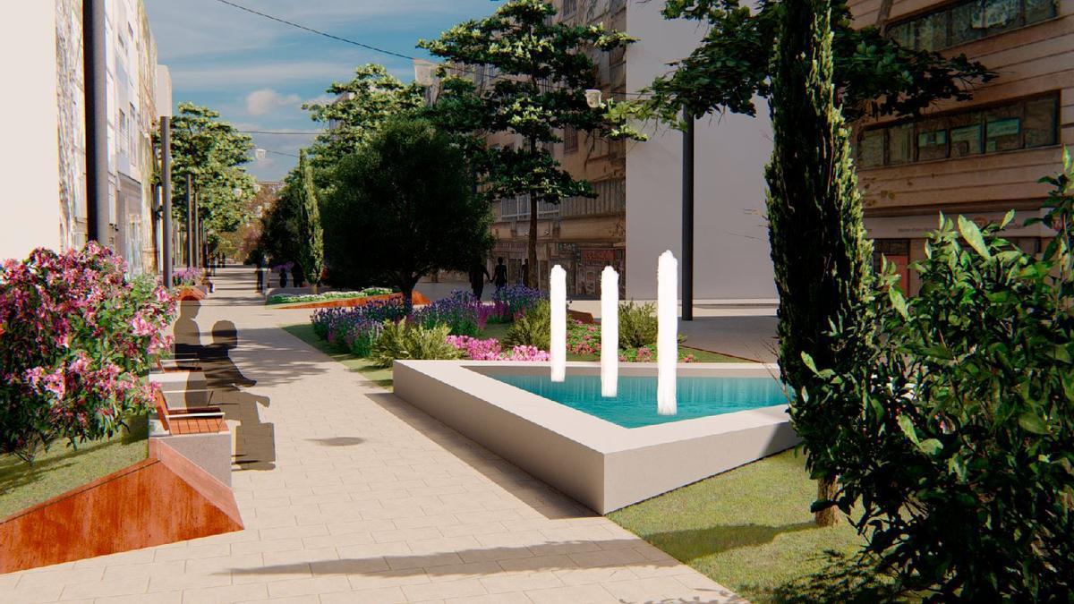 Imagen virtual de la calle Nuredduna una vez ejecutadas las obras de peatonalización previstas por el equipo de gobierno.