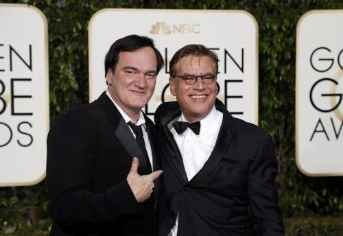 Quentin Tarantino and screenwriter Aaron Sorkin arrive at the 73rd Golden Globe Awards in Beverly Hill