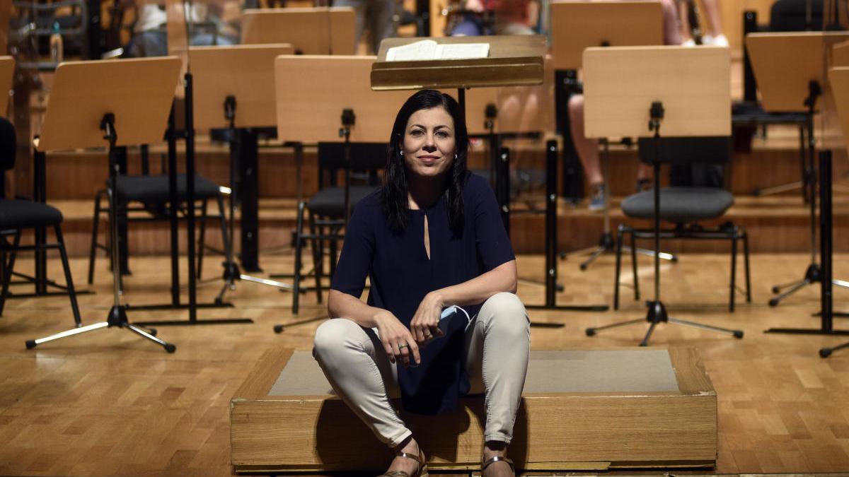Virginia Martínez, ayer, antes del ensayo de la Sinfónica en el Víctor Villegas.