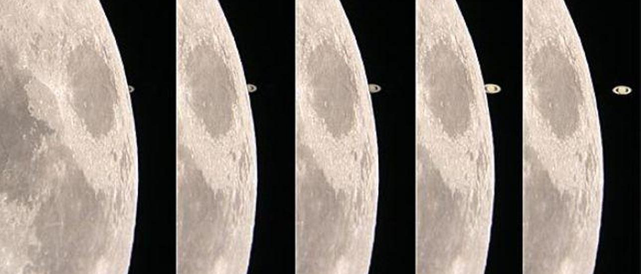 Secuencia de la aproximación de Saturno y la Luna.
