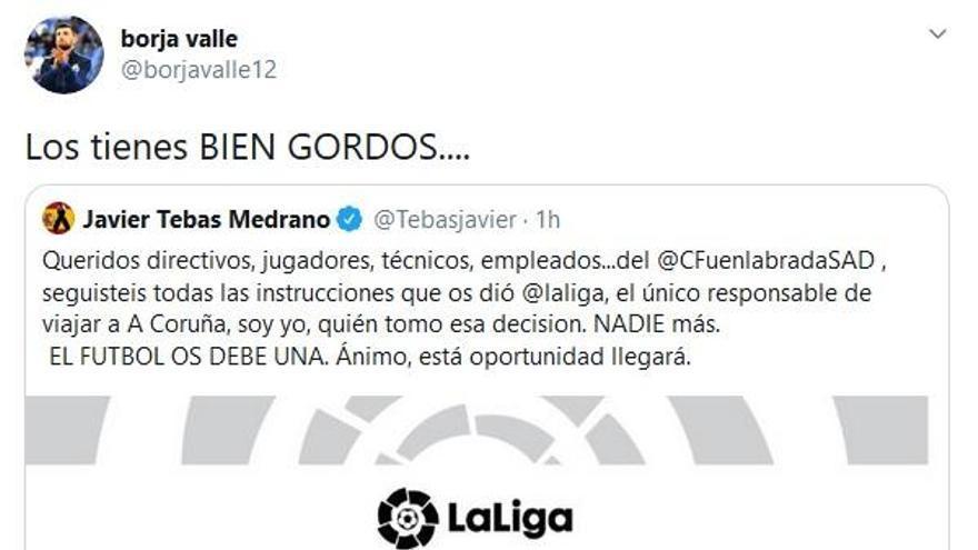 """Borja Valle a Tebas: """"Los tienes bien gordos"""""""