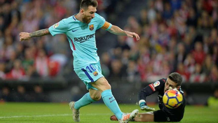Ter Stegen aguanta y Messi marca