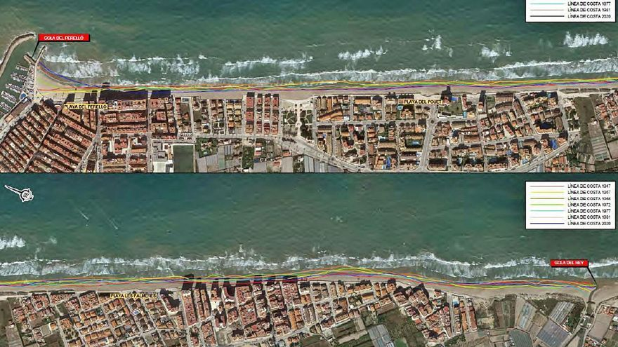 Las playas de Sueca han perdido hasta setenta metros de arenales