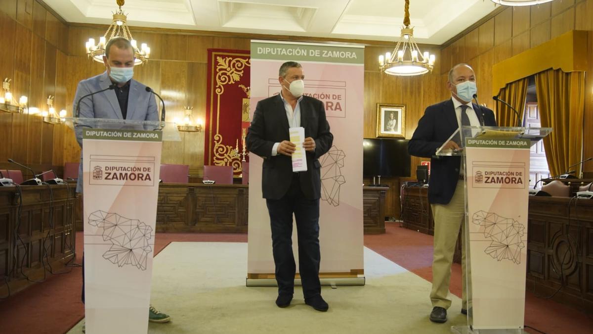 Francisco José Requejo, José María Barrios y Javier Faúndez presentan las ayudas en la Diputación de Zamora.