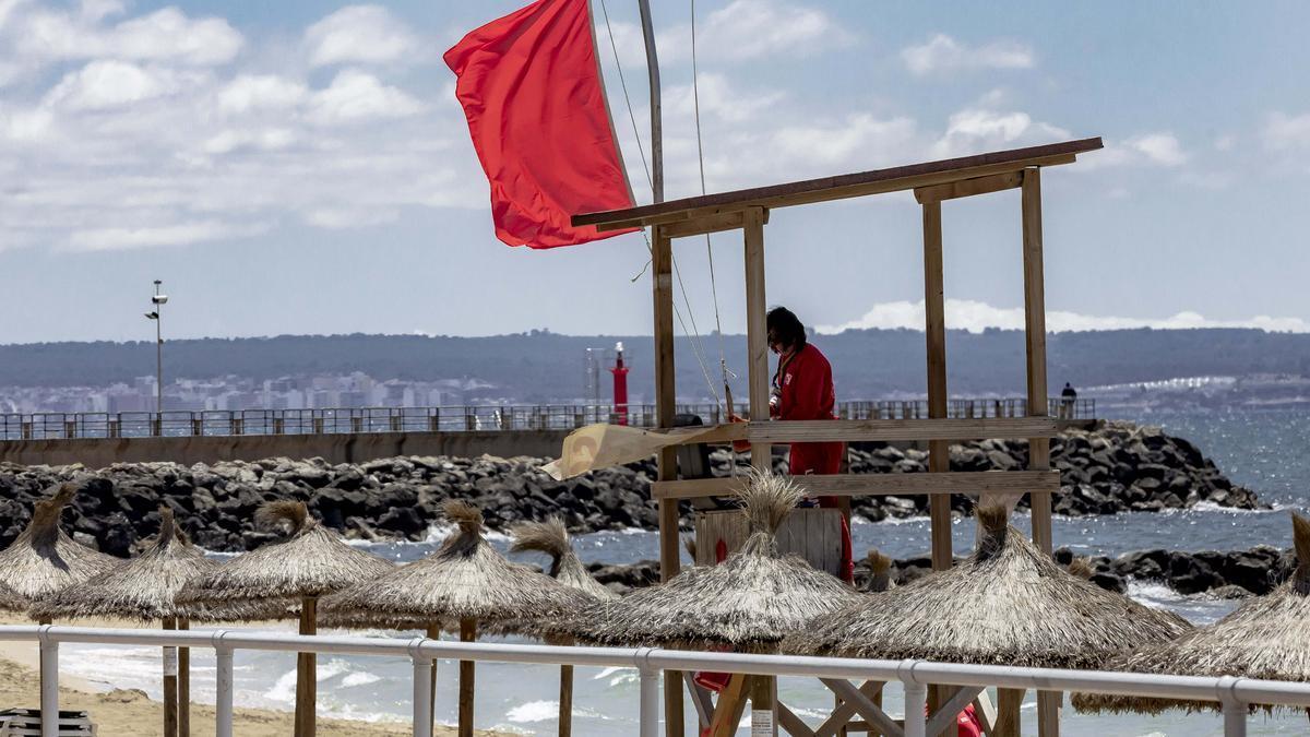 Bandera roja en tres playas de Palma.
