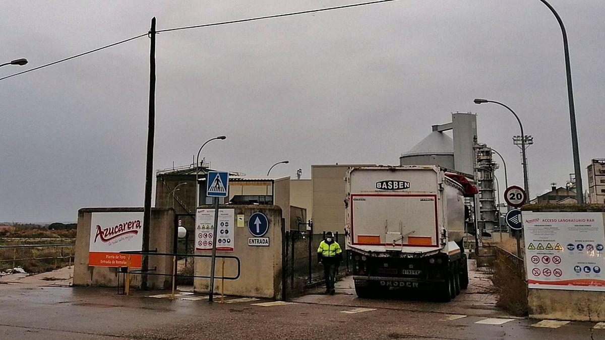 Un camión cargado de remolacha accede en el primer día de campaña a las instalaciones de la fábrica de Azucarera en Toro.