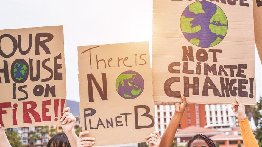 Una protesta contra el cambio climático.