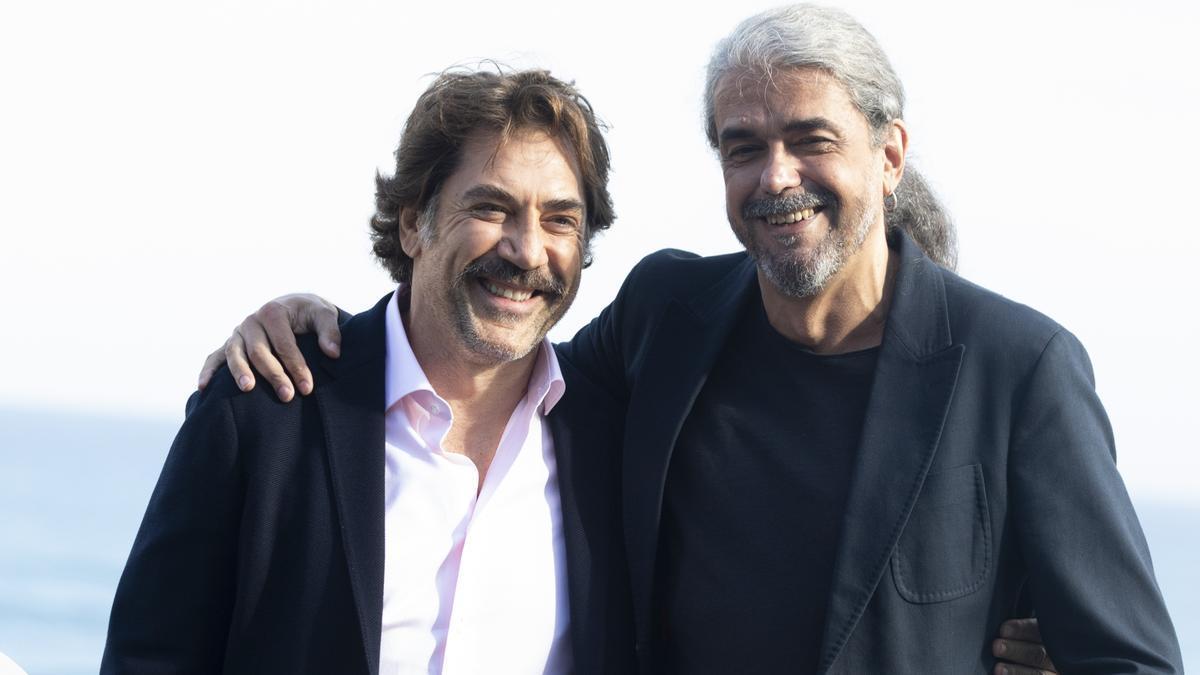 L'actor Javier Bardem i el director Fernando León de Aranoa durant la presentació de la pel·lícula 'El buen patrón' al Festival de Cinema de Sant Sebastià