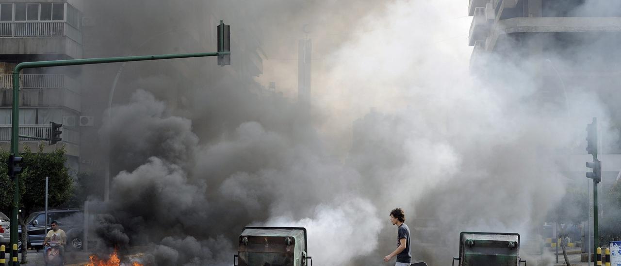 Imagen de archivo de protestas en Beirut.