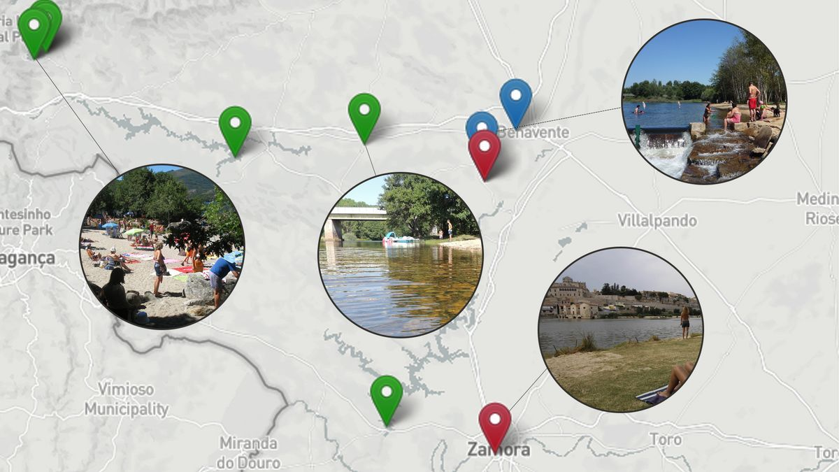 Gráfico sobre las zonas de baño de Zamora y la calidad del agua.