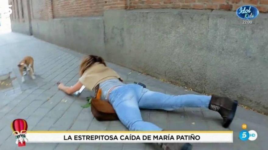 """La """"brutal"""" caída de María Patiño que han captado las cámaras: """"Esto no lo podéis sacar"""""""