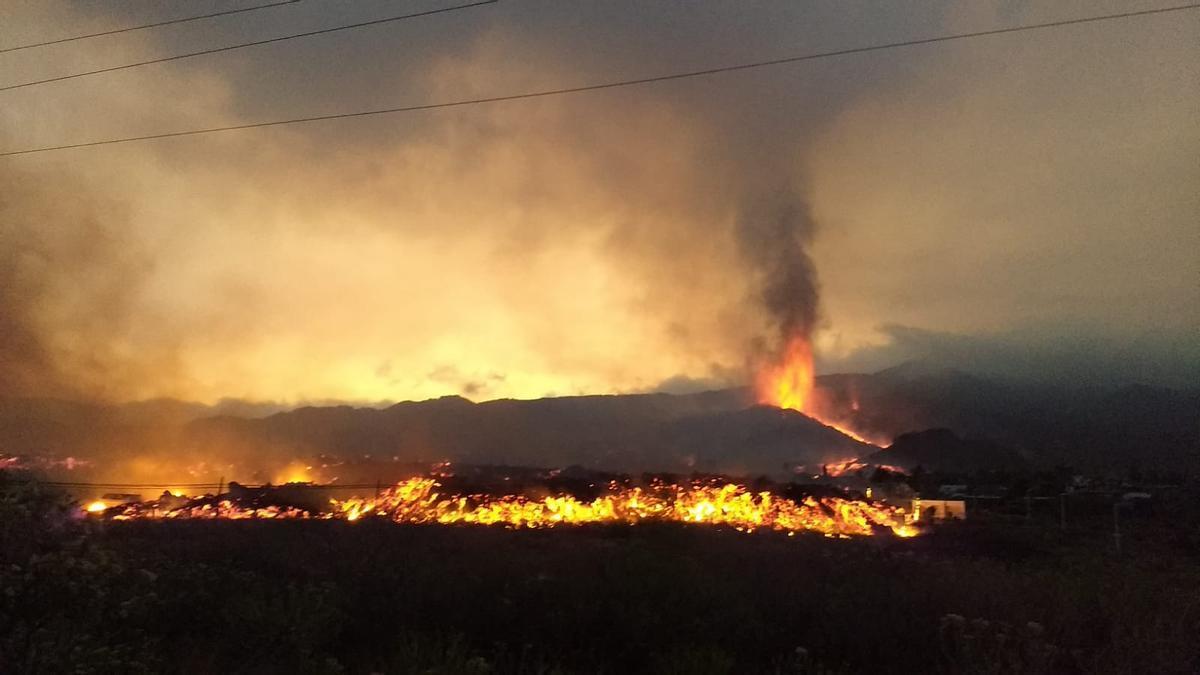 Imagen de la colada del volcán de Cumbre Vieja, en El Paso, La Palma.