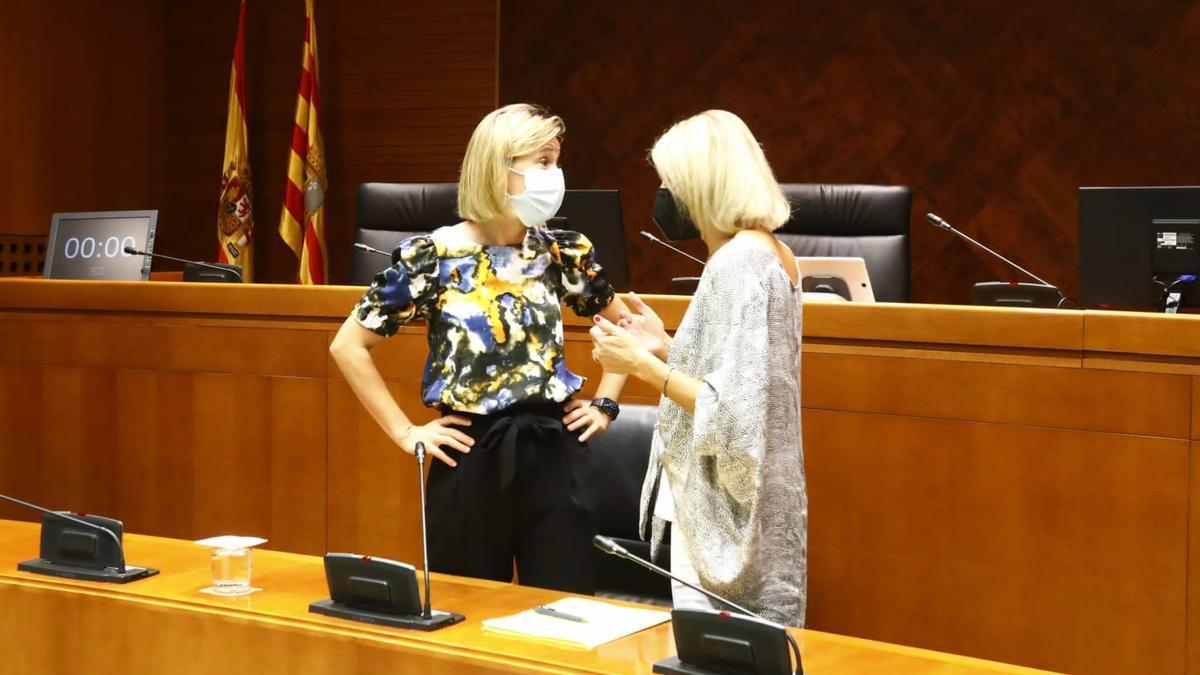 La gerente del IASS, Noelia Carbó, charla con la diputada Pilimar Zamora, este miércoles en las Cortes.
