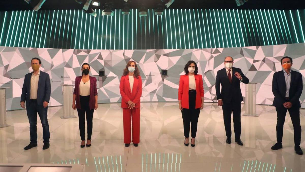 Los seis candidatos a presidir la Comunidad en el debate de Telemadrid.