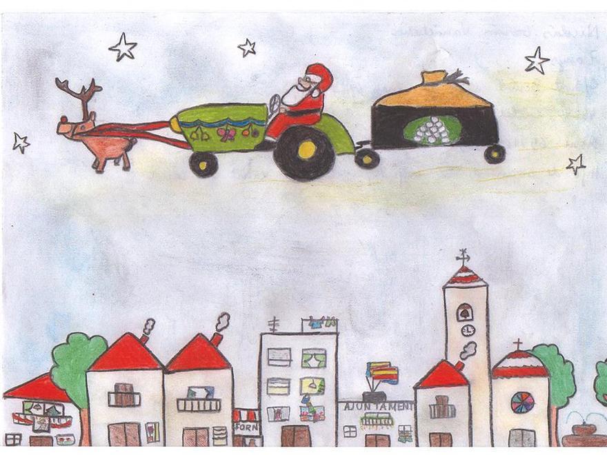 Primer premio en categoría Infantil del Concurso de Postales Anecoop, obra de Nicolás García Vanaclocha, de 7 años.