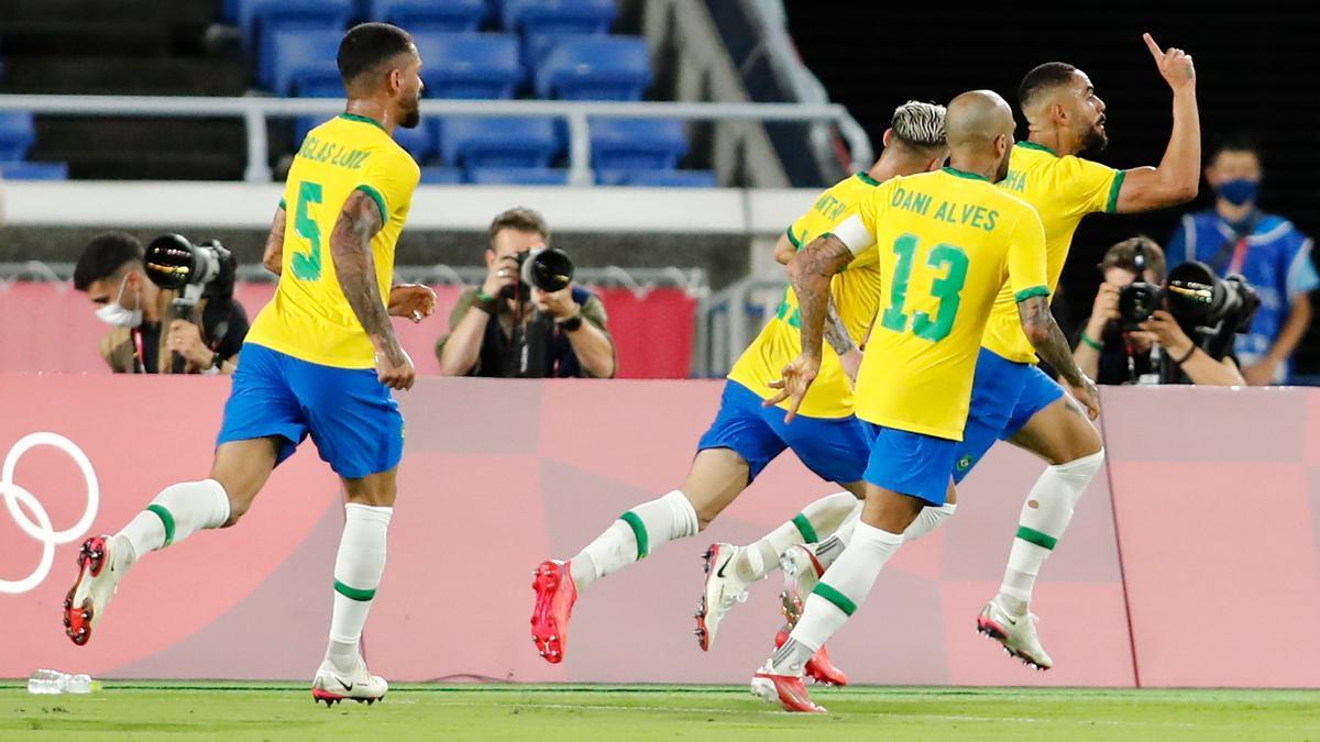 Matheus Cunha celebra el 1-0 en el Brasil-España de los Juegos Olímpicos de Tokio.