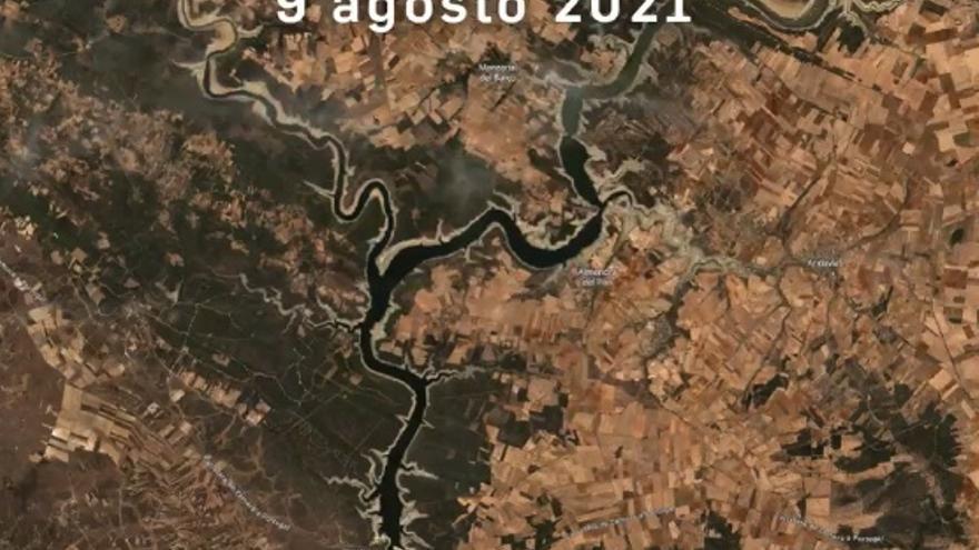 VÍDEO | El vaciado del embalse de Ricobayo, visto desde un satélite