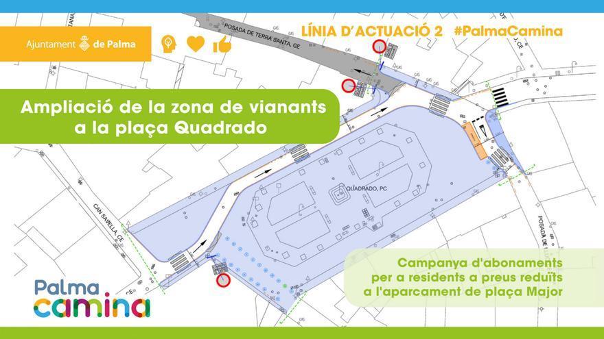 La plaza Quadrado de Palma será peatonal a partir de mañana