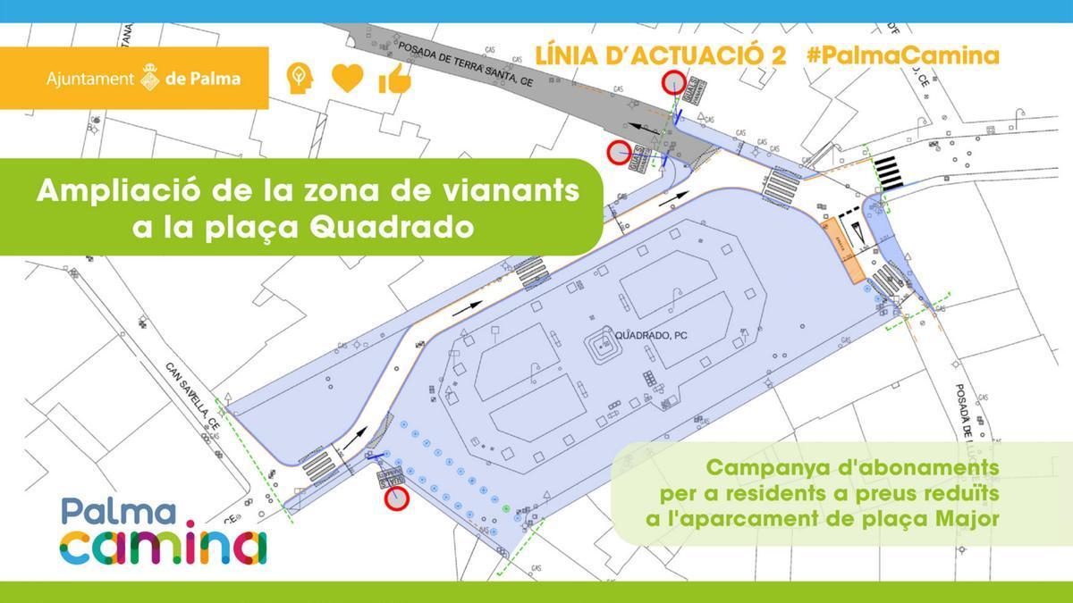 Plano de los cambios circulatorios en la plaza Quadrado.