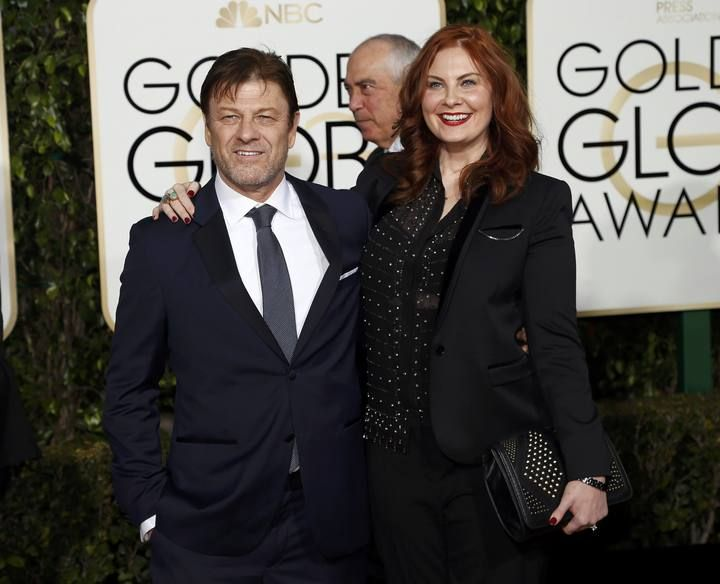 Sean Bean and a guest arrive at the 73rd Golden Globe Awards in Beverly Hills