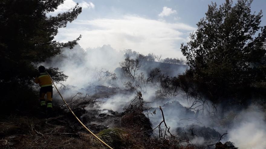 Un incendio forestal arrasa una hectárea de matorral en Sant Llorenç