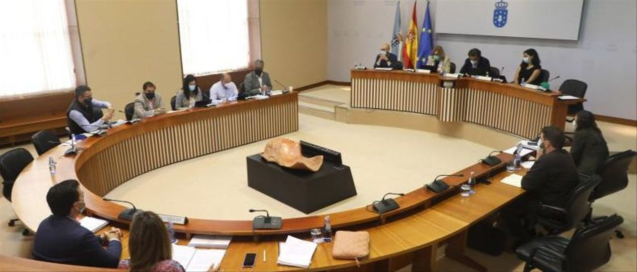 Participantes en la comisión de reactivación en el Parlamento, ayer.     // XOÁN ÁLVAREZ
