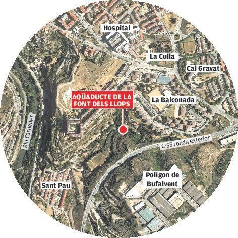 Ubicació de l'aqüeducte de la font dels Llops