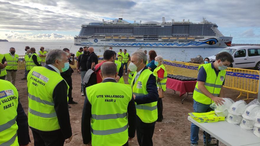 Inicio de las obras en la futura playa de Valleseco